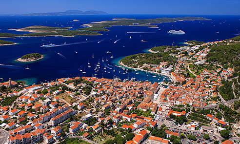 Hvar town from air