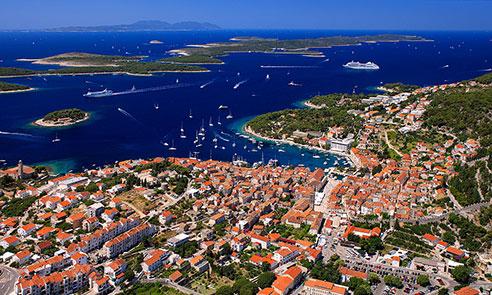 Hvar town from air