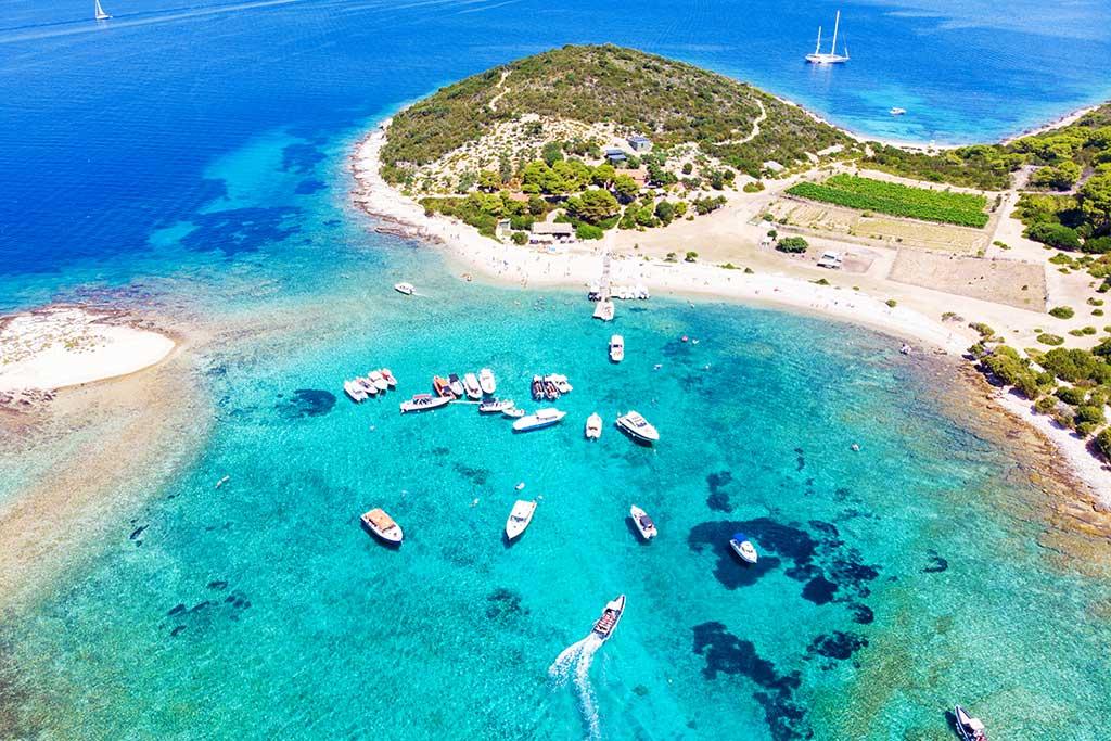 Turquoise lagoon of Budikovac island
